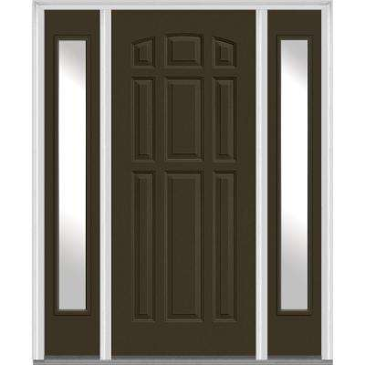 64.5 in. x 81.75 in. 9-Panel Painted Fiberglass Smooth Exterior Door with Sidelites