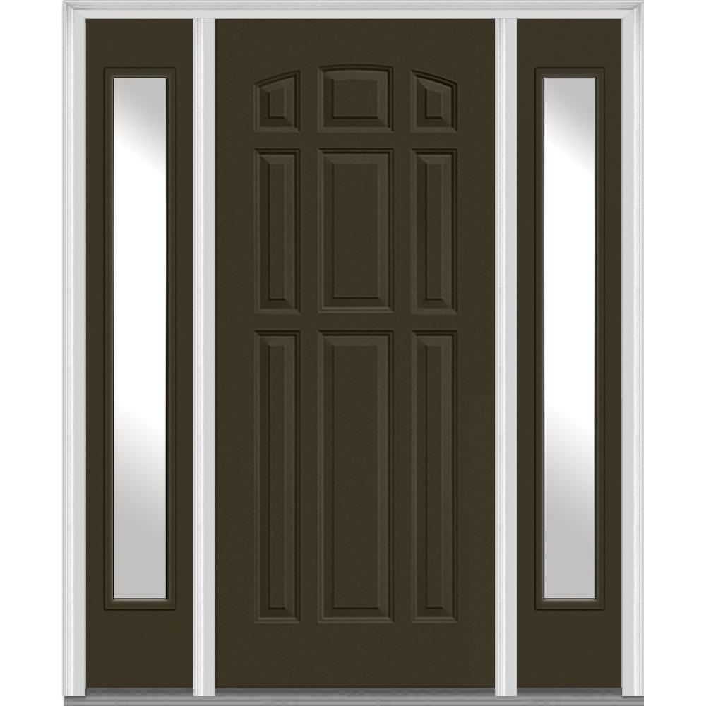 64 in. x 80 in. Left Hand Inswing 9-Panel Painted Fiberglass Smooth Prehung Front Door with Sidelites