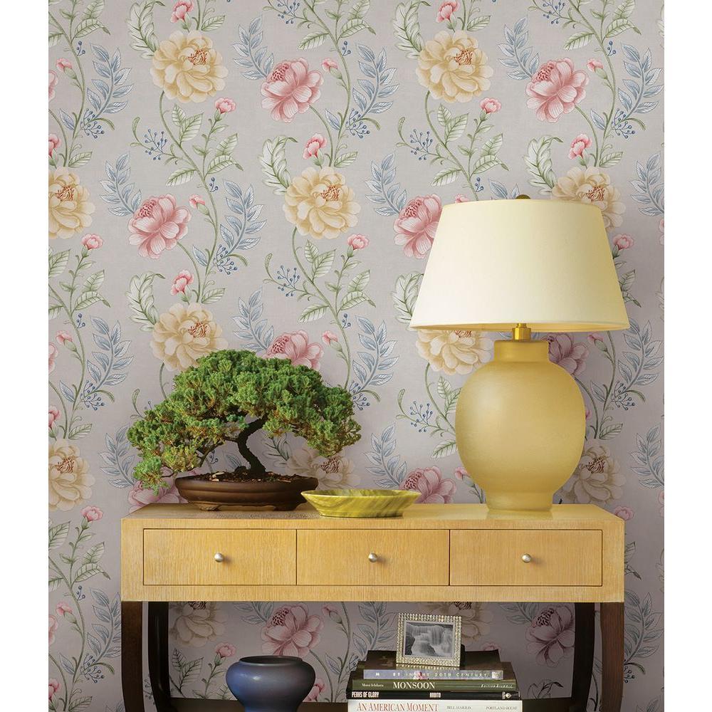 Summer Palace Grey Floral Trail Wallpaper Sample