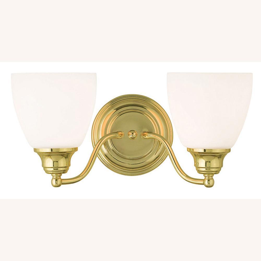 Livex Lighting Somerville 2 Light Polished Brass Bath Light 13672 02 The Home Depot