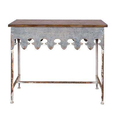 Bungalow 36 in. Zinc/Brown Standard Rectangle Wood Console Table