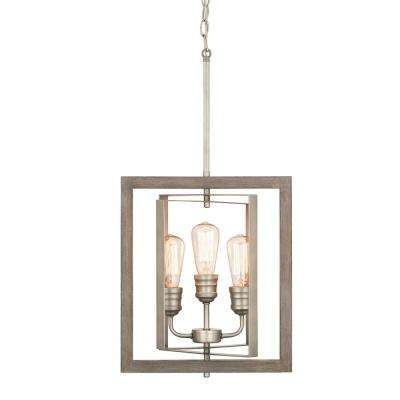 Palermo Grove 3-Light Antique Nickel Pendant with Painted Weathered Gray Wood Accents