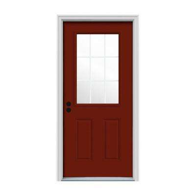 36 in. x 80 in. 9 Lite Mesa Red Painted Steel Prehung Right-Hand Inswing Front Door w/Brickmould