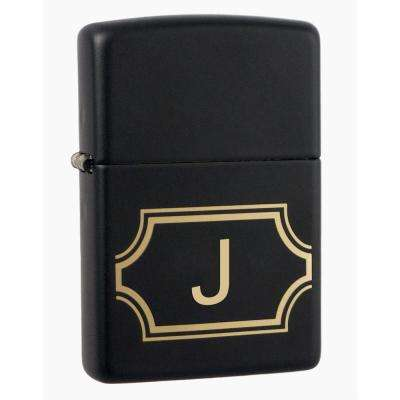 "Black Matte Lighter with Initial ""J"""