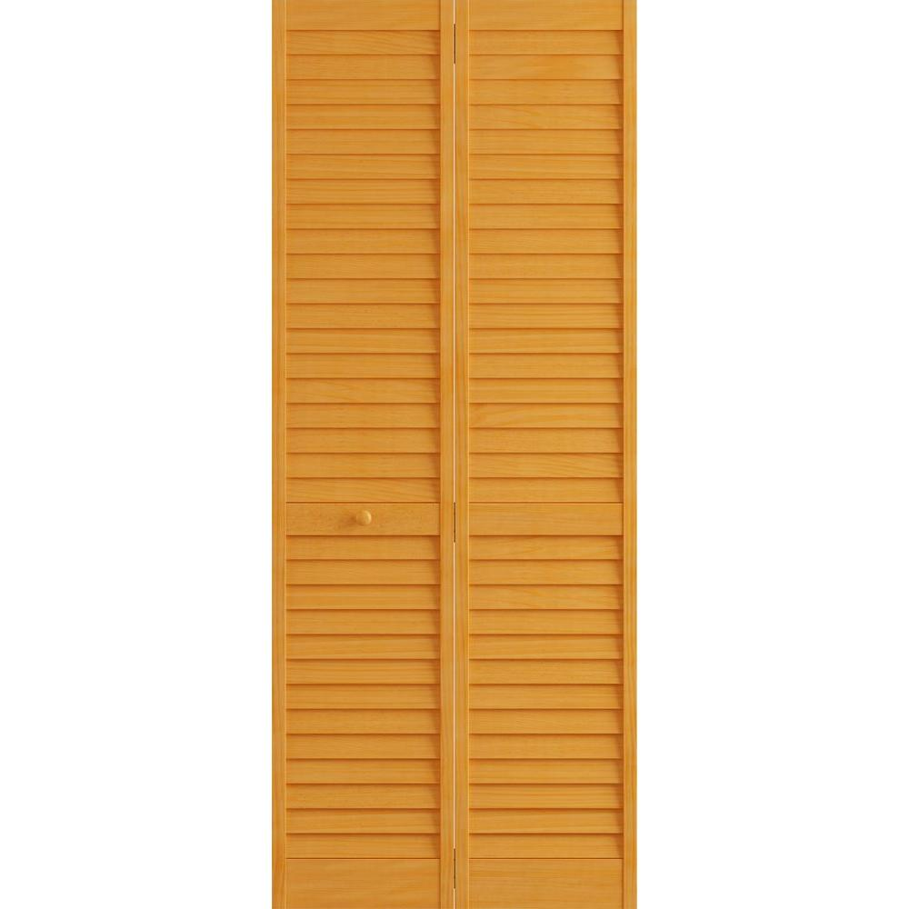 Frameport 30 in x 80 in louver pine white plantation - Interior bifold louvered closet doors ...