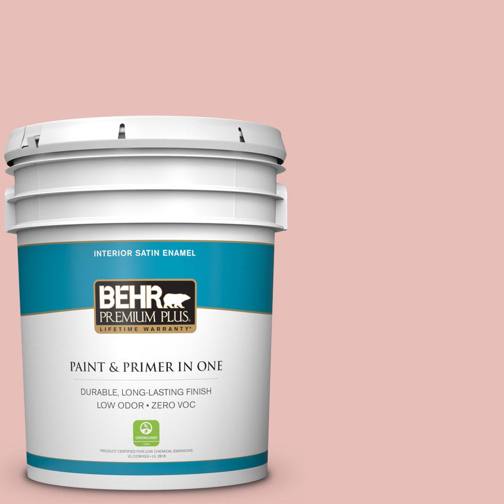 5 gal. #T18-01 Positively Pink Zero VOC Satin Enamel Interior Paint