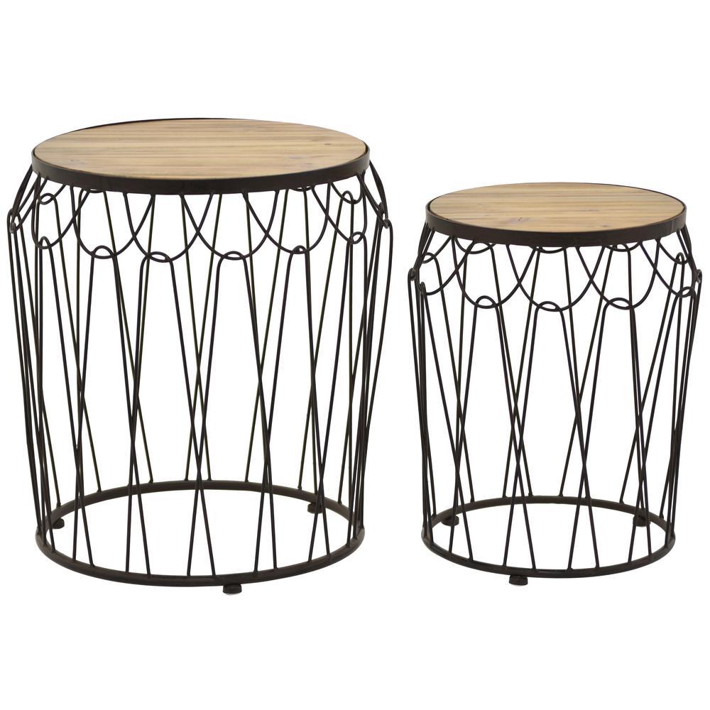 19 in. Brown Metal Wood Tables (Set of 2)