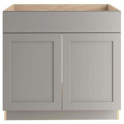 Cambridge Assembled 36x34.5x24 in. Sink Base Cabinet in Gray