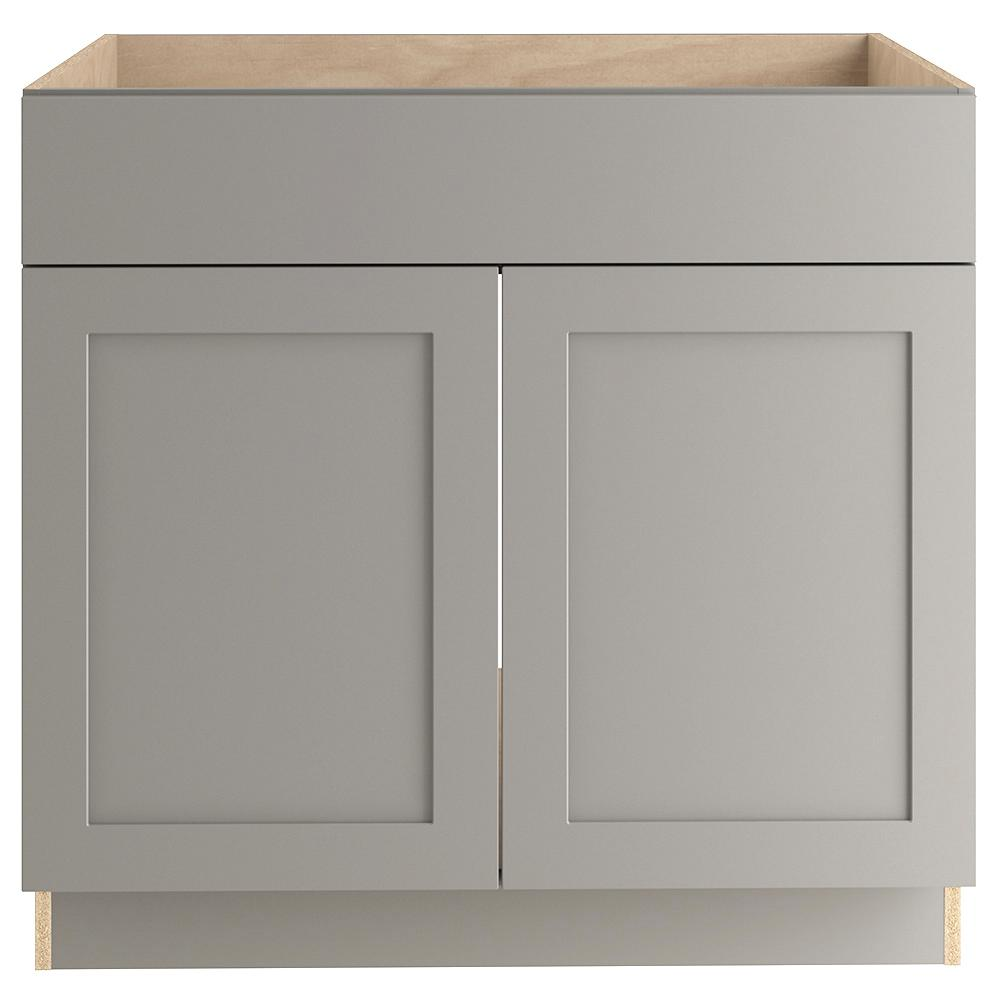 Hampton Bay Cambridge Shaker Assembled 36x34.5x24 in. Sink Base Cabinet in Gray -  CM3635S-KG