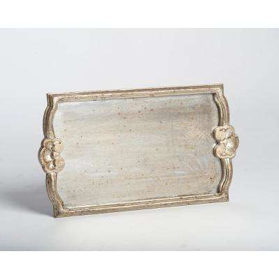 Silver Antiqued Mirror Wood Decorative Tray