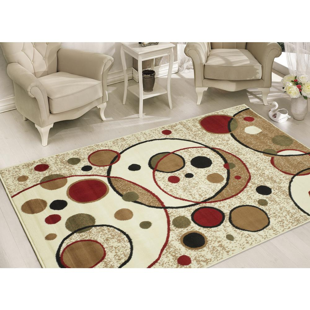 Sweet home stores clifton collection modern circles design beige 8 ft x 10 ft