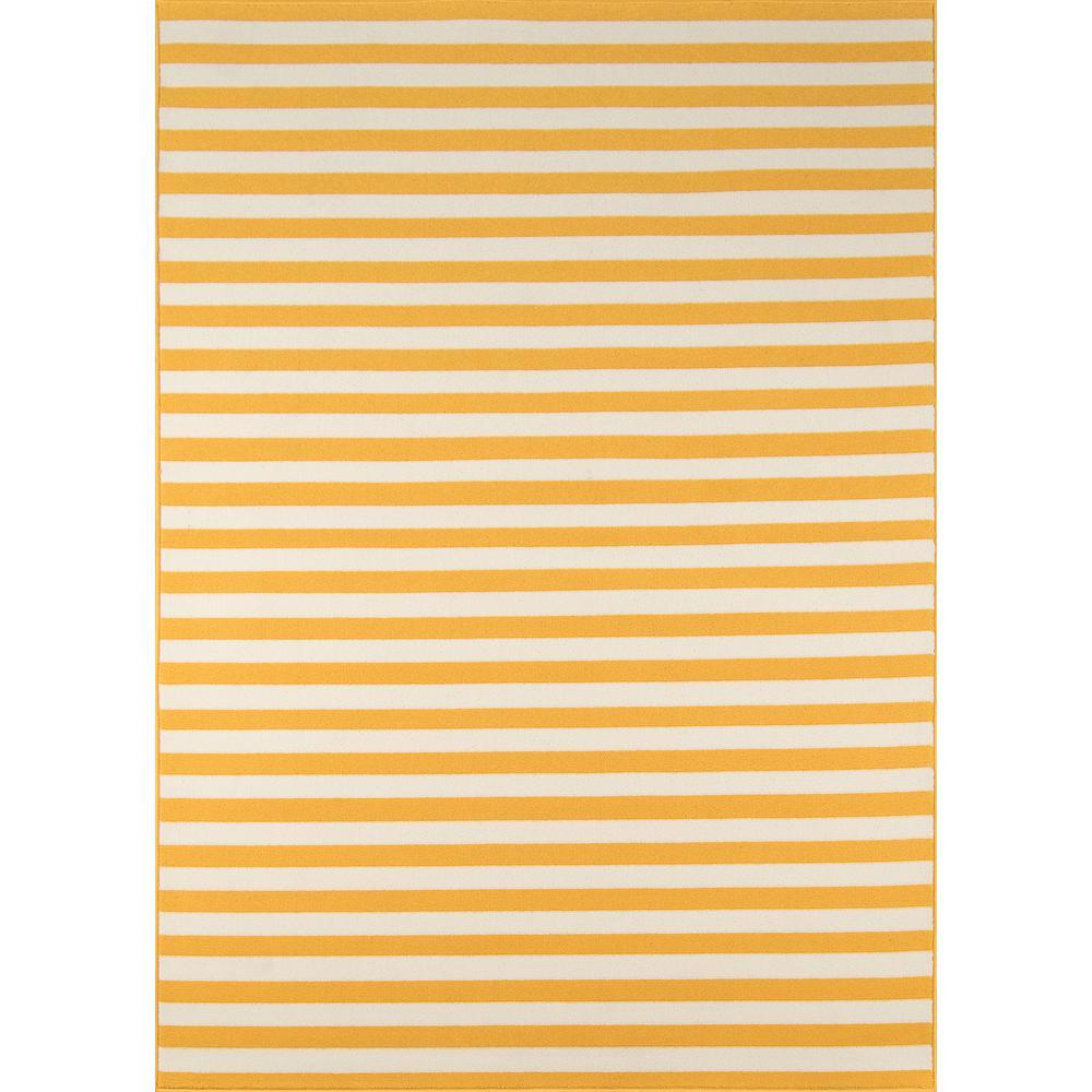 Baja Stripe Yellow 5 ft. 3 in. x 7 ft. 6 in. Indoor/Outdoor Area Rug