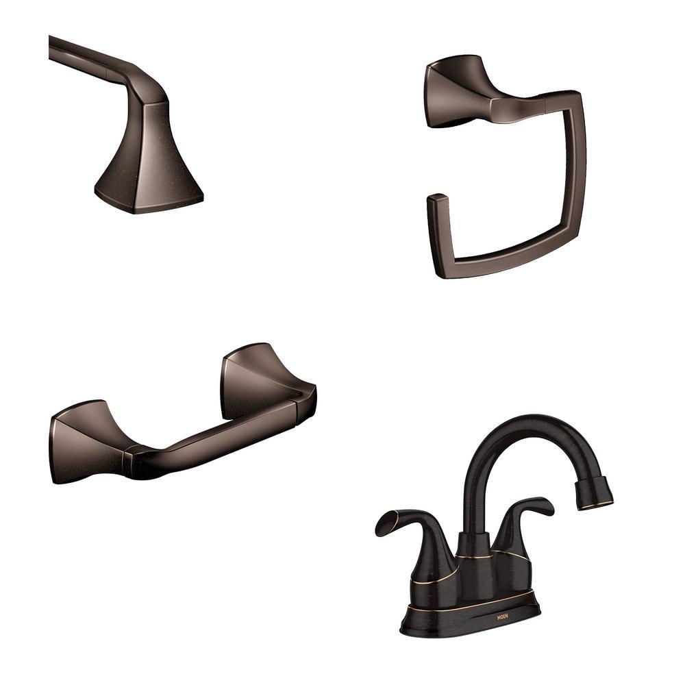 MOEN Idora 4 in. Centerset 2-Handle Bathroom Faucet with 3-Piece Bath Hardware Set in Mediterranean Bronze