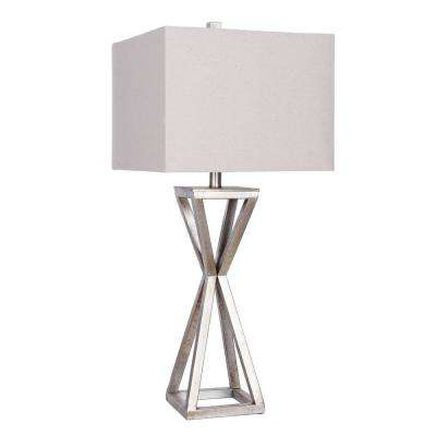 31 in. Antique Pewter Table Lamp with Gray Linen Shade
