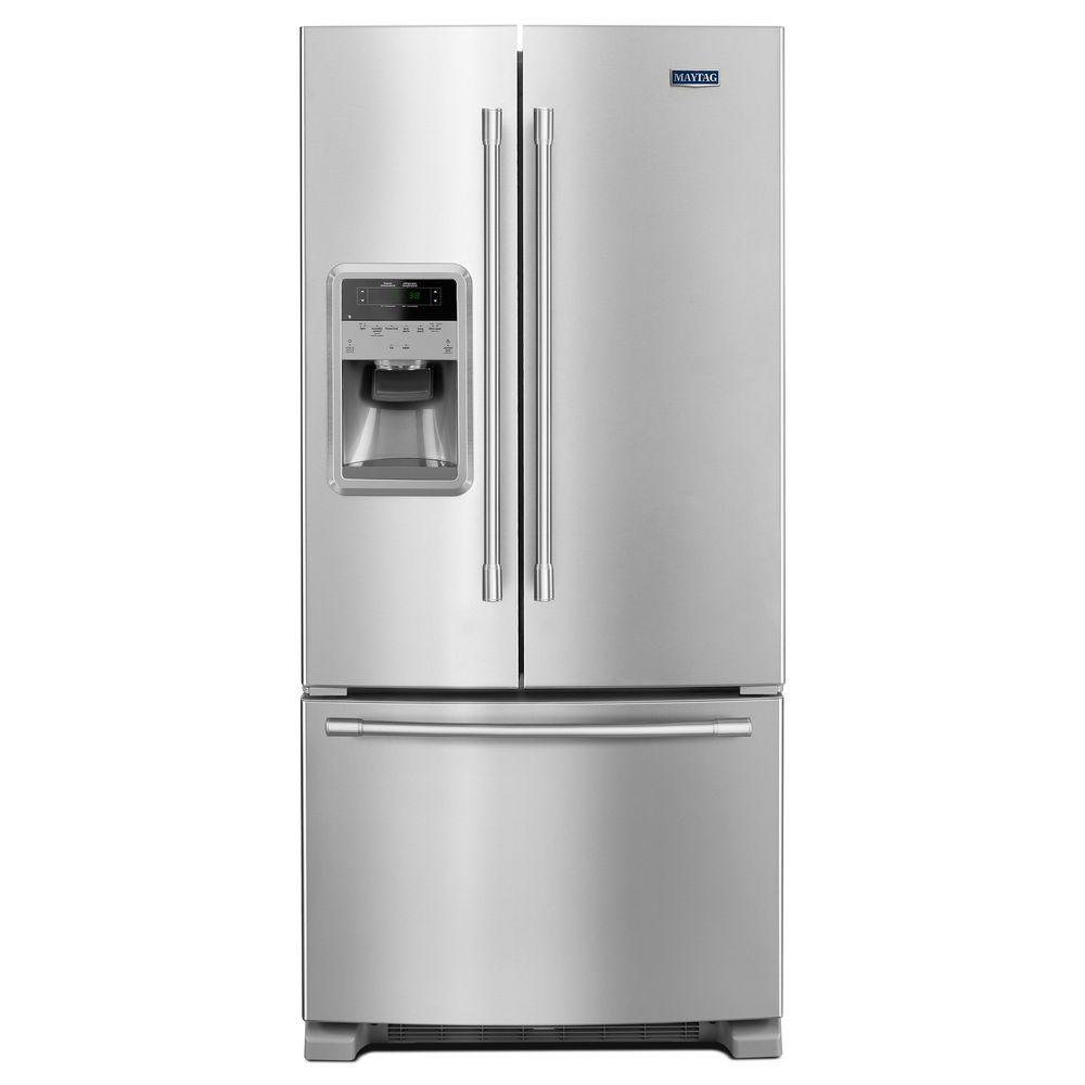 Maytag 22 cu  ft  French Door Refrigerator in Fingerprint Resistant  Stainless Steel