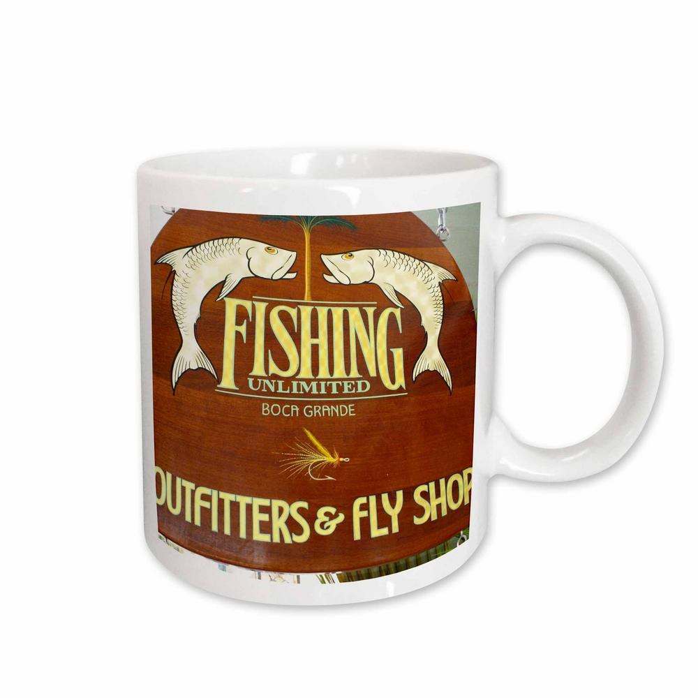 3drose Florene Decorative All About Fishing 11 Oz White Ceramic Coffee Mug