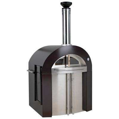 Bellagio 32 in. x 36 in. 500-Wood Burning Oven with Cabinet in Copper