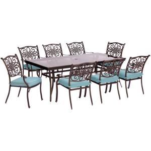 Hanover Traditions 9-Piece Aluminum Outdoor Dining Set with Rectangular Glass-Top Table with Blue Cushions by Hanover