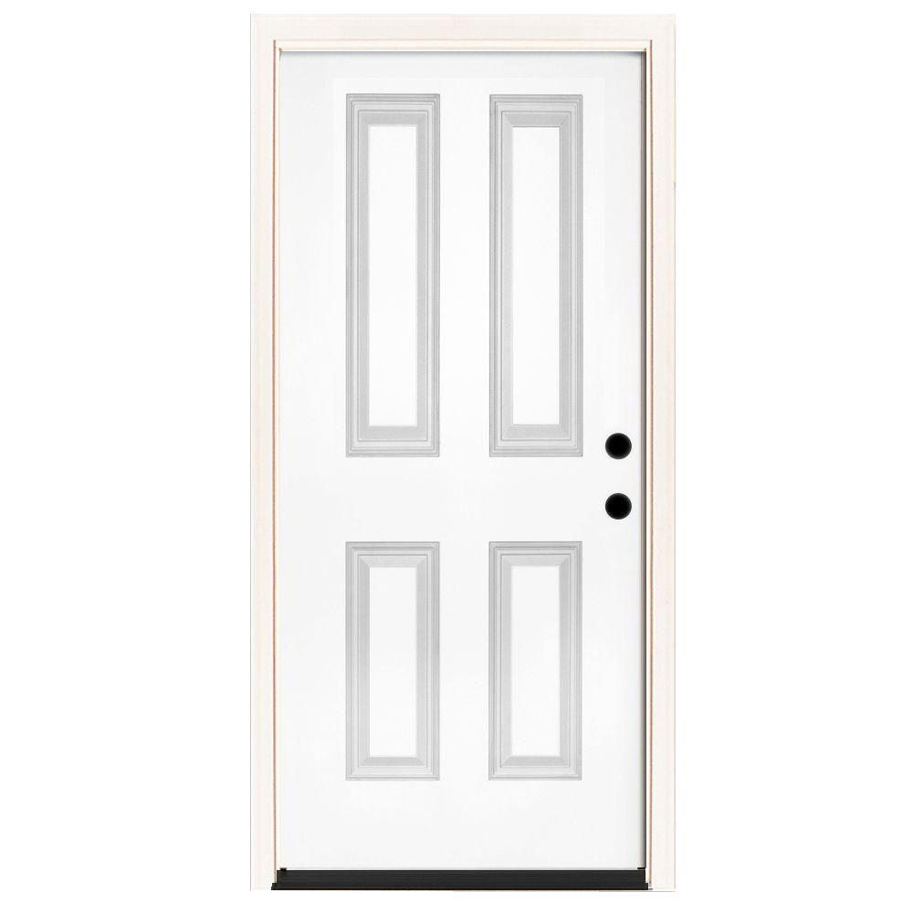 Steves & Sons 36 in. x 80 in. Premium 4-Panel Primed White Steel Prehung Front Door with 36 in. Left-Hand Inswing and 4 in. Wall
