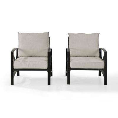 Kaplan 2-Piece Metal Patio Outdoor Seating Set with Oatmeal Cushion - 2-Outdoor Chairs