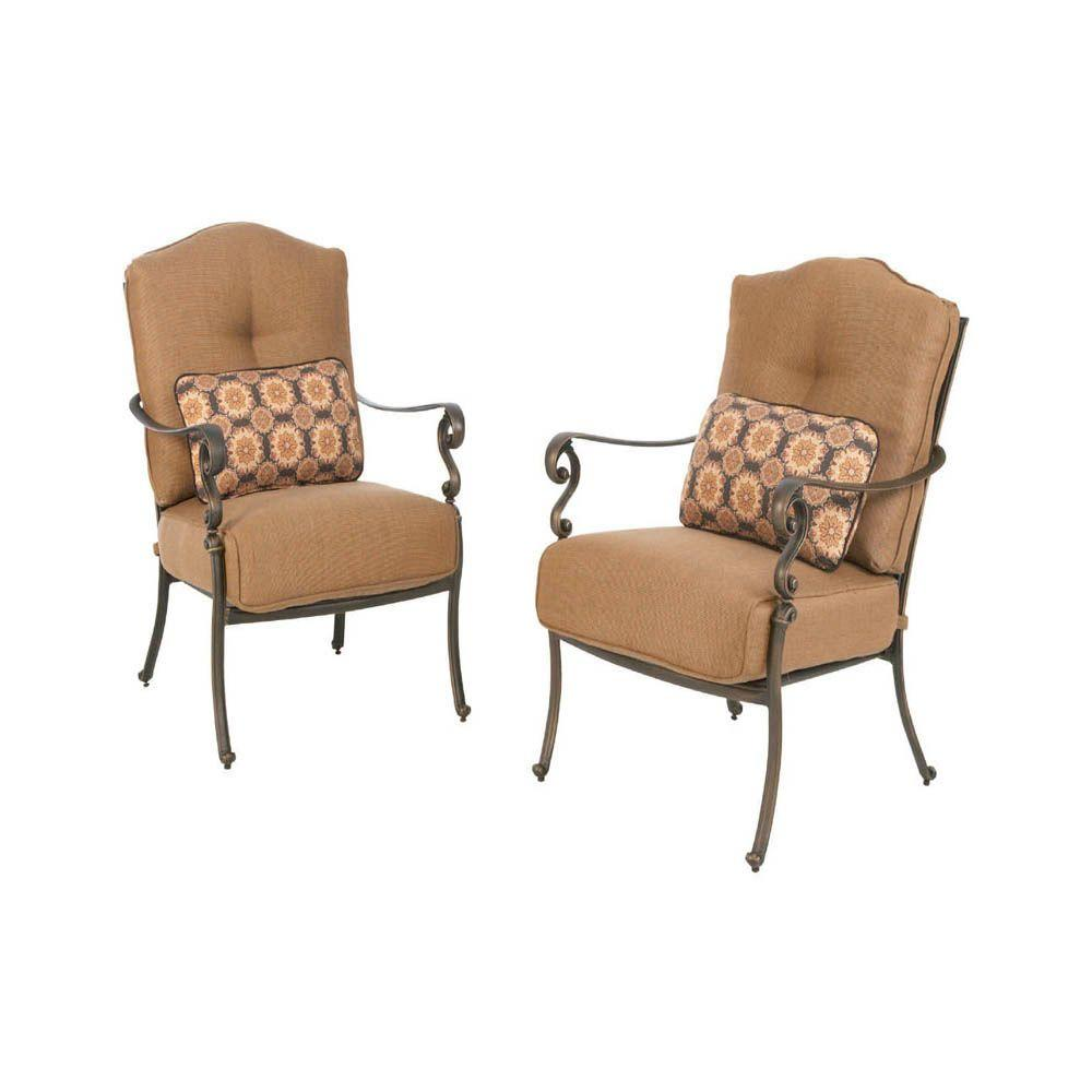 Martha Stewart Living Miramar II Patio Lounge Chair with Tan Cushion (2-Pack)-DISCONTINUED
