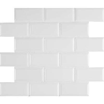 Bright White Bevel 11.47 in. x 11.63 in. x 6 mm Glazed Ceramic Mesh-Mounted Mosaic Tile (13.35 sq. ft. / case)