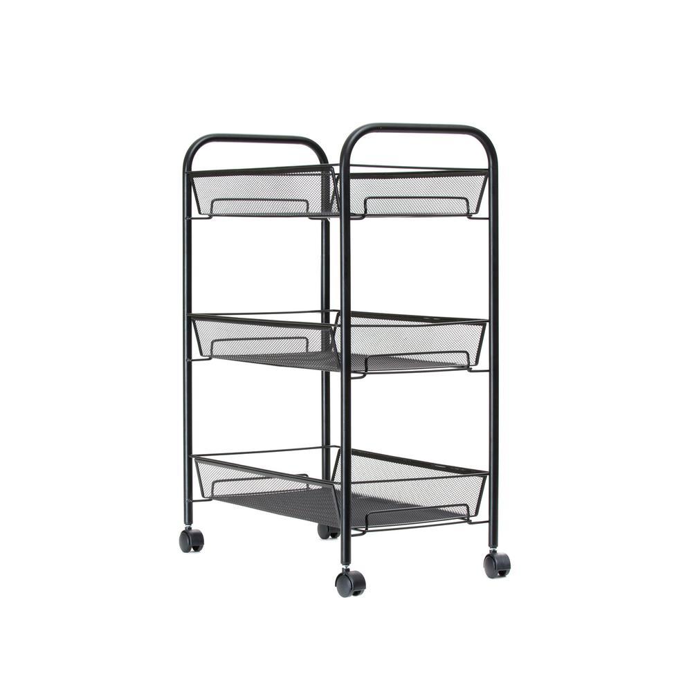 mind reader 3 tier metal 4 wheeled multi purpose cart in black 3tbathcart blk the home depot. Black Bedroom Furniture Sets. Home Design Ideas