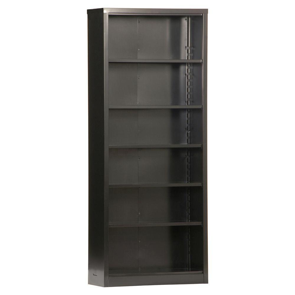 84 in. Black Metal 6-shelf Standard Bookcase with Adjustable Shelves