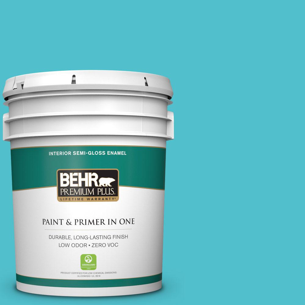 5-gal. #510B-5 Jamaican Sea Zero VOC Semi-Gloss Enamel Interior Paint