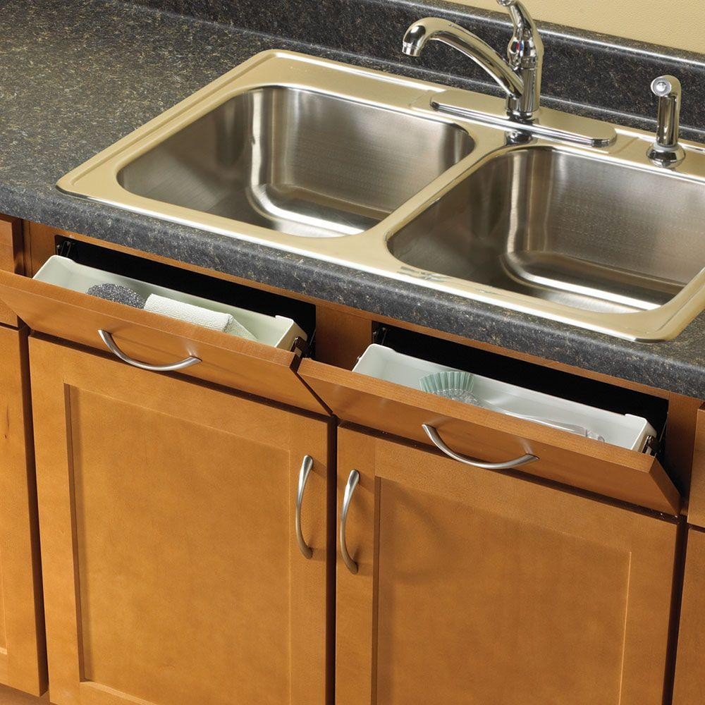Knape & Vogt 15 in. W Sink Front Tray with Hinges-PSF14SH-2-W - The ...