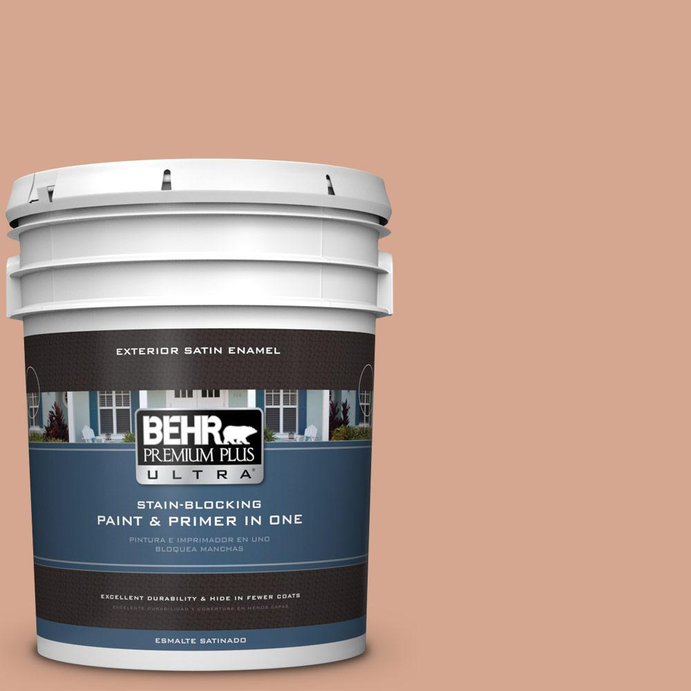 5 gal. #MQ1-30 Peachy Confection Satin Enamel Exterior Paint and Primer