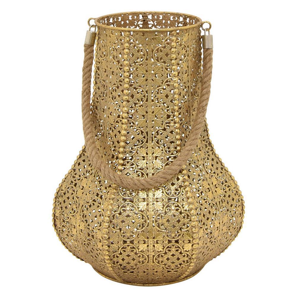 15.5 in. Metal Lantern in Gold