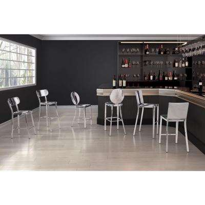 Winter 24.4 in. Polished Stainless Steel Bar Stool (Set of 2)