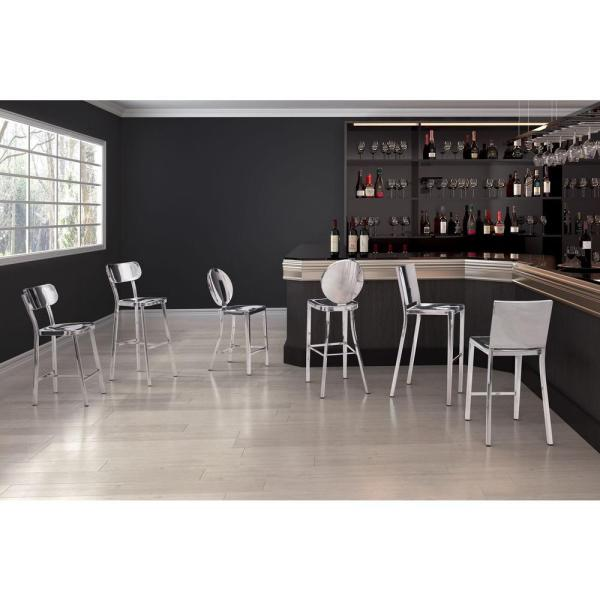 Polished Stainless Steel Bar Stool Set Of 2