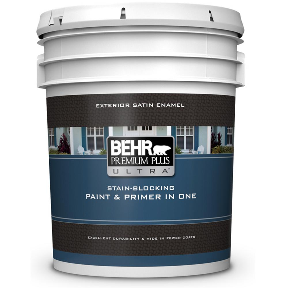 BEHR Premium Plus Ultra 5 Gal. Ultra Pure White Satin