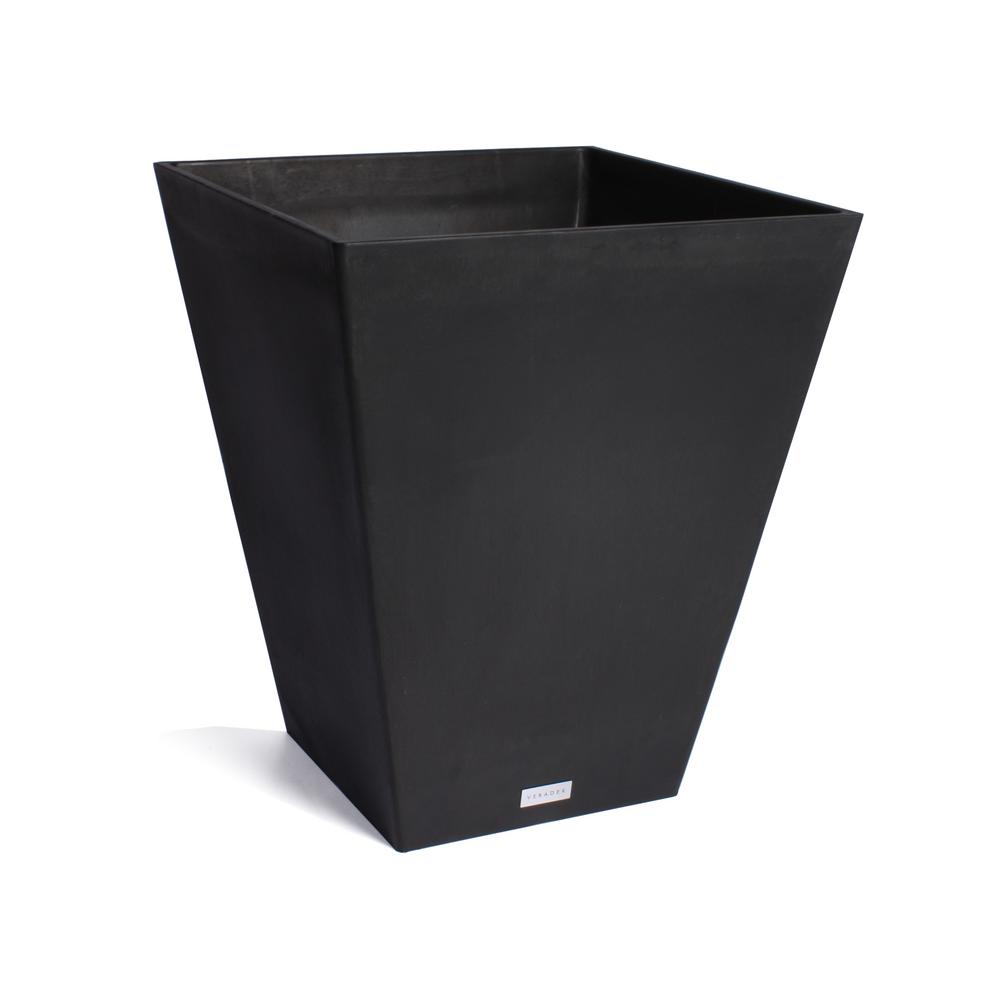 Nobleton 22 in. Square Black Plastic Planter