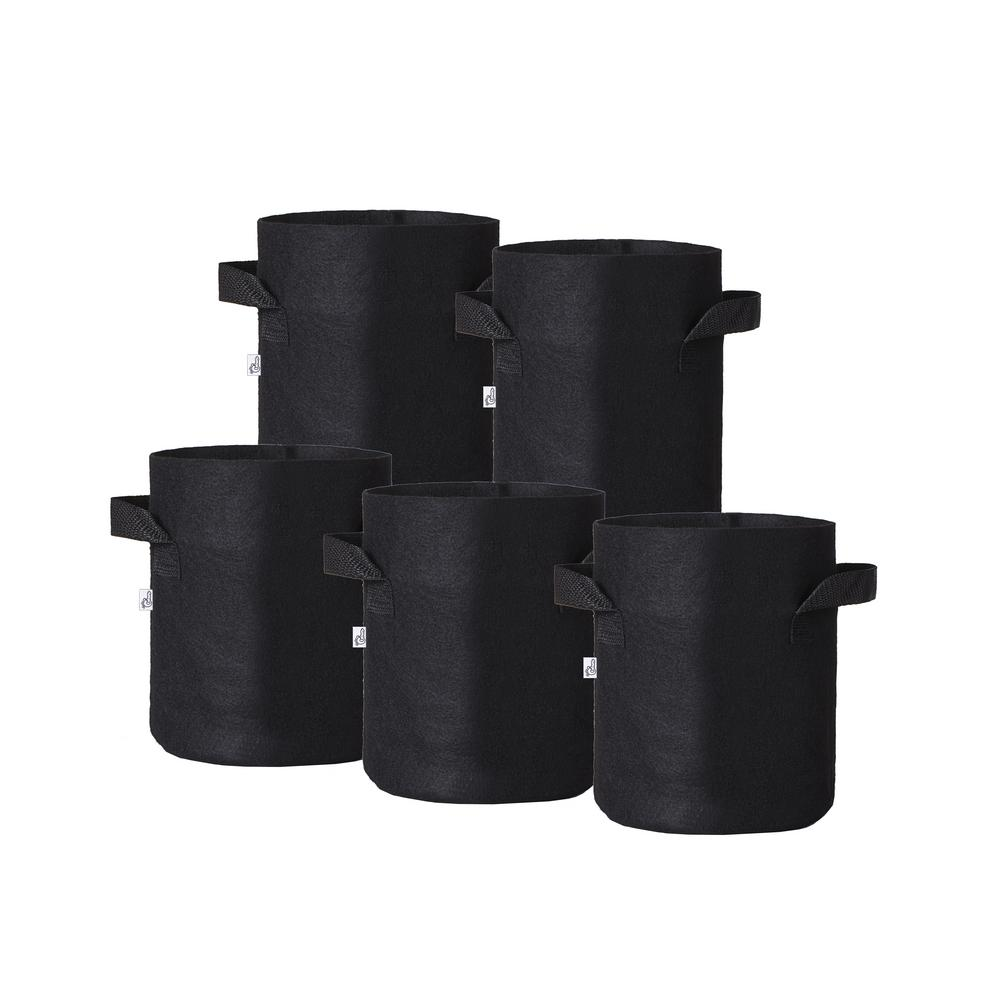 Hydro Crunch 8 in. x 8 in. 2 Gal. Breathable Fabric Pot Bags with Handles Black Felt Grow Pot (5-Pack)