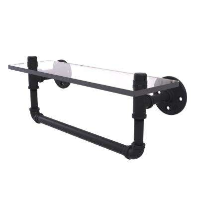 Pipeline Collection 16 in. Glass Shelf with Towel Bar in Matte Black