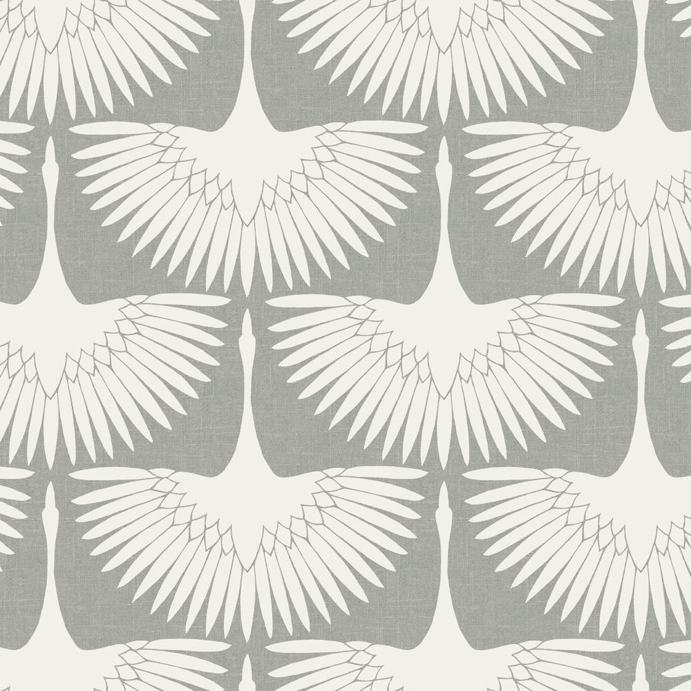 Tempaper Genevieve Gorder Feather Flock Chalk Self Adhesive Removable Wallpaper