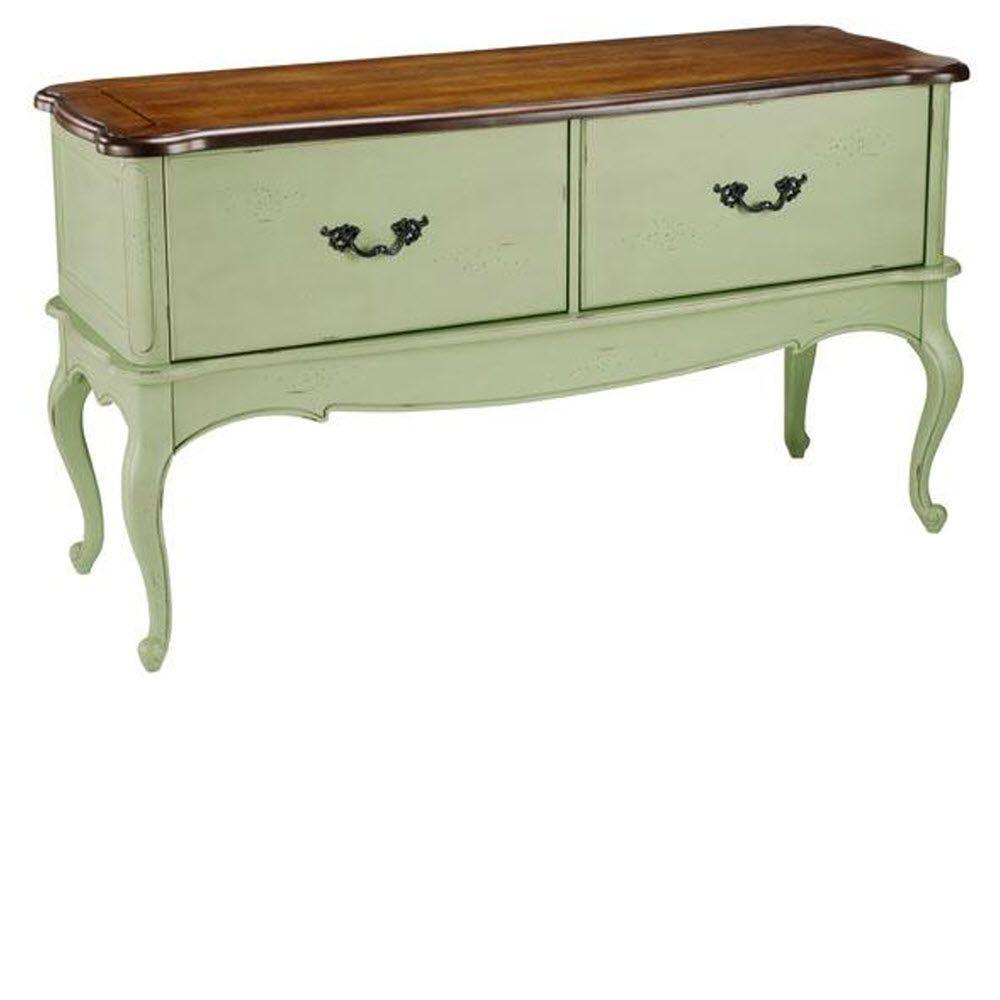 Home Decorators Collection Provence 2-Drawer File Cabinet with Green with Chestnut Top