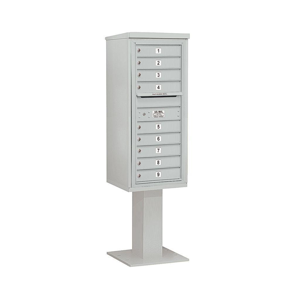 3400 Series 69-1/8 in. 11 Door High Unit Gray 4C Pedestal Mailbox with 9 MB1 Doors