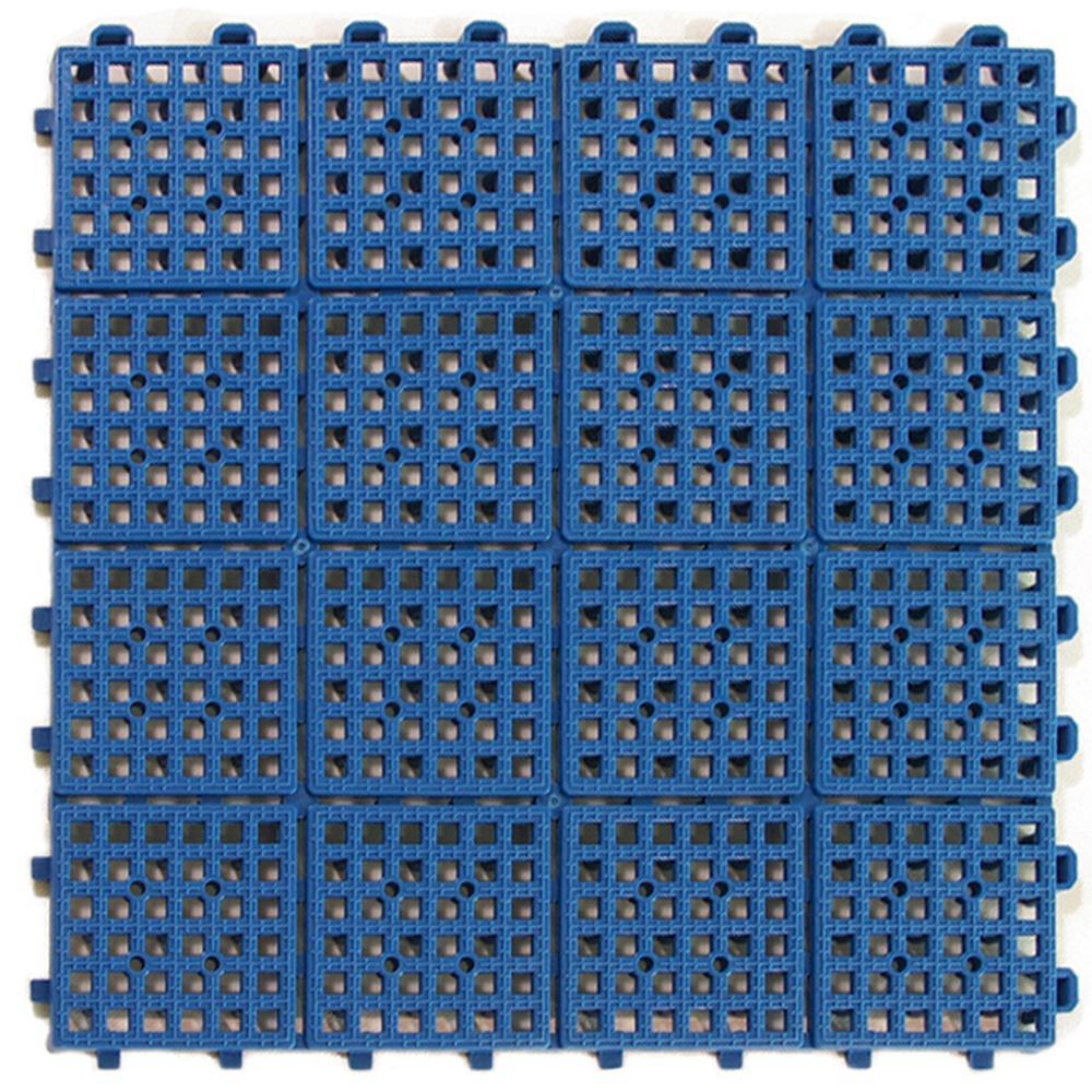 Greatmats Patio Non-Slip 11.5 In. X 11.5 In. PVC Interlocking Outdoor Deck Tile In Blue (Case Of