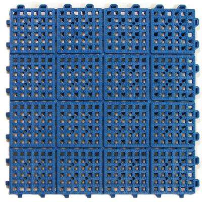 Patio Non-Slip 11.5 in. x 11.5 in. PVC Interlocking Outdoor Deck Tile in Blue (Case of 30)