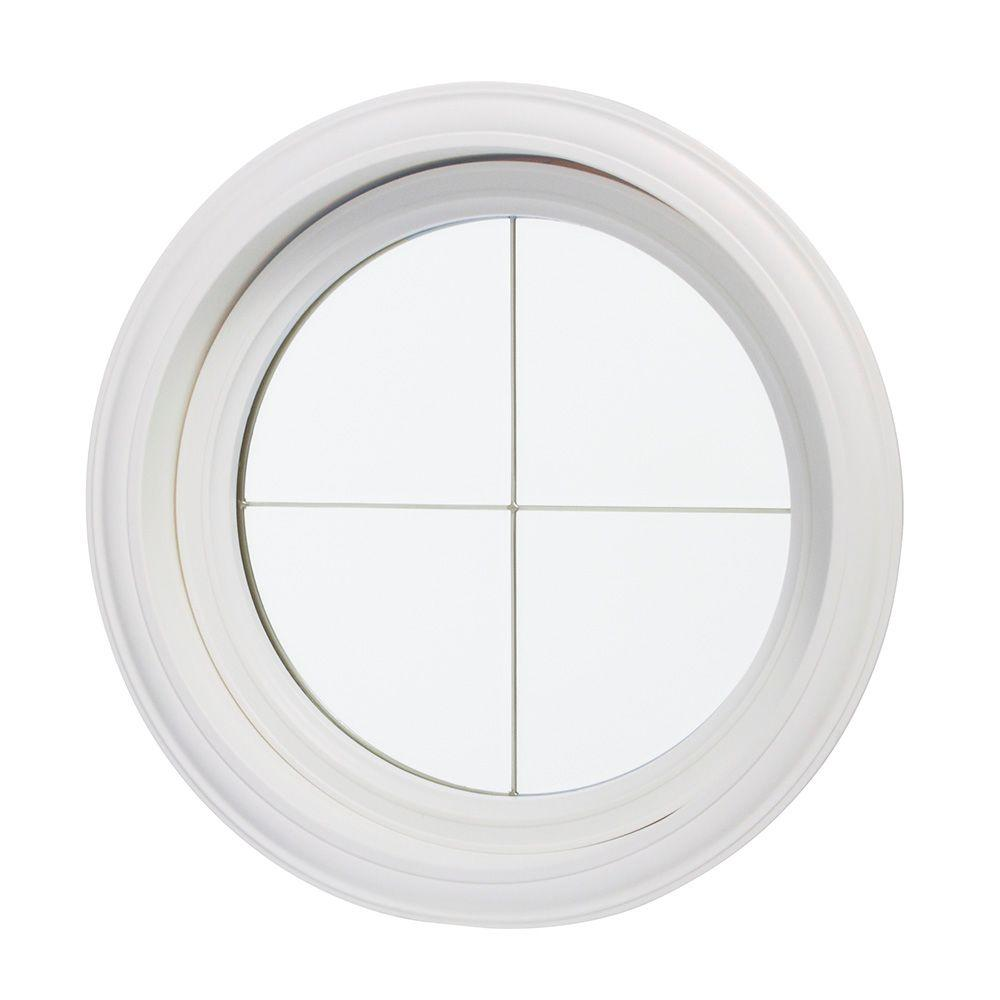 24.5 in. x 24.5 in. Clear Glass Round Picture Vinyl Window