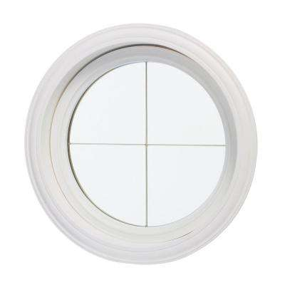 24.5 in. x 24.5 in. Clear Glass Round Picture Vinyl Window with Platinum Cross Design, White