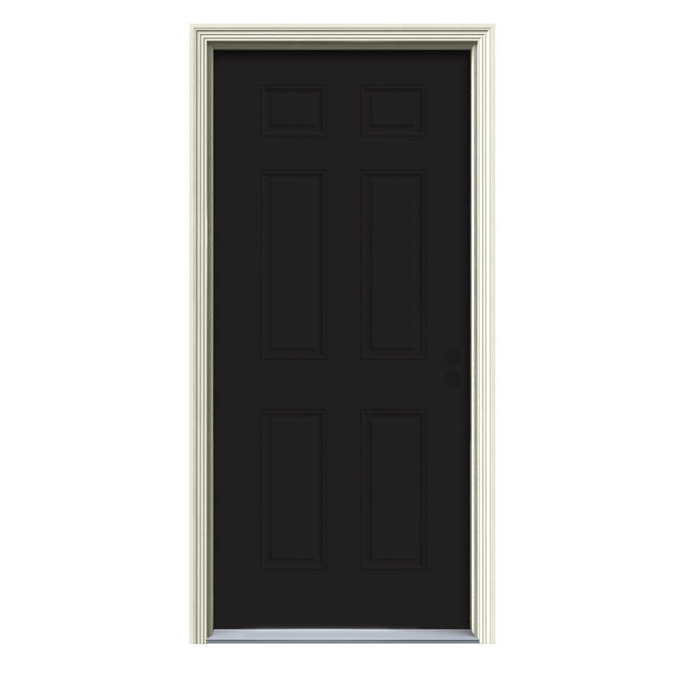 Jeld Wen 30 In X 80 In 6 Panel Black Painted Steel Prehung Left