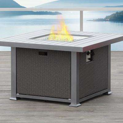 Ventura 41.6 in x 41.6 in. x 24.6 in Square Aluminum Propane Fire Pit in Grey with Natural Gas Conversion Kit