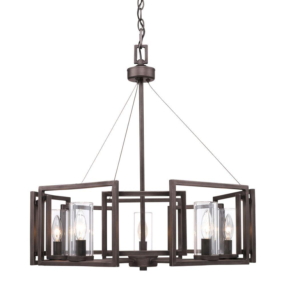 Golden Lighting Reddington Collection 5-Light Gunmetal Bronze Chandelier