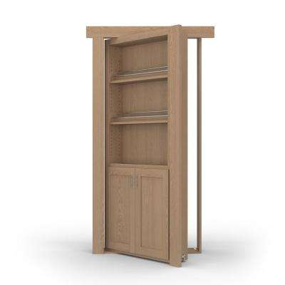 36 in. x 80 in. Flush Mount Assembled Forward Pantry Door Oak Unfinished Left-Hand Inswing