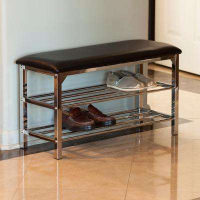 Black Leatherette with Chrome Frame Storage Entryway Bench